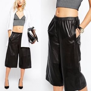 Asos Just Female Leather Culottes Billy Cropped